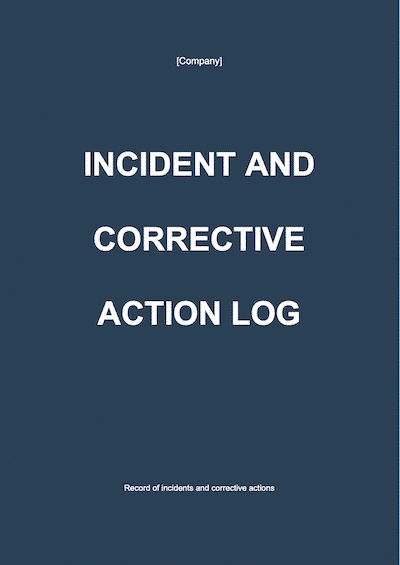 Incident and corrective action log document template