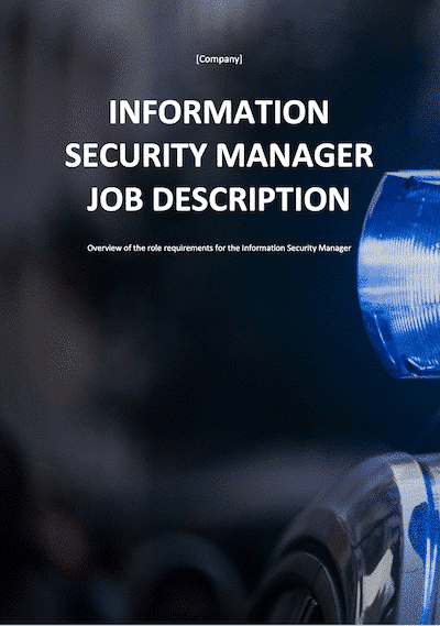 Information Security Manager Job Description document template
