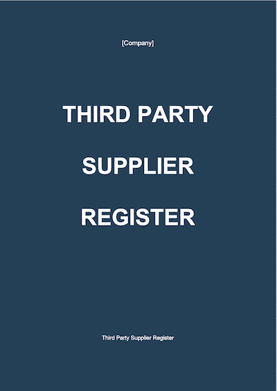 Third Party Supplier Register document template